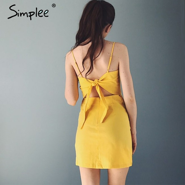 Simplee Backless 2017 beach summer dress women sundress Bow casual linen sexy dress Slim fit bodycon white short dress vestidos