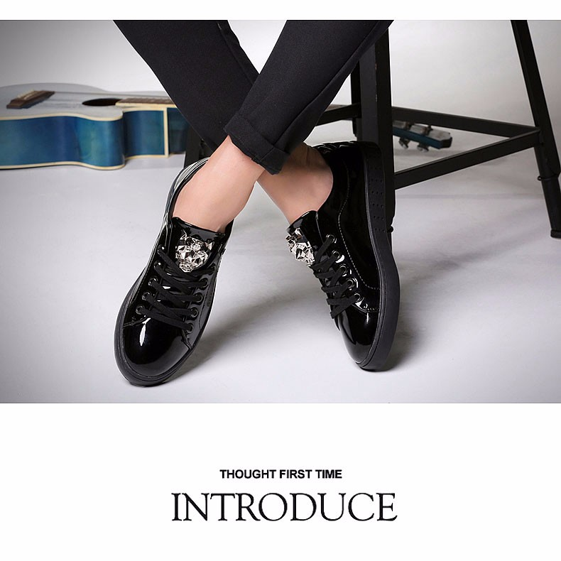 KUYUPP 2016 High Quality PU Patent Leather Men Flats Shoes Leopard Head Sequined Skate Shoes Round Toe Lace Up Men Flat Heel Y31 (30)