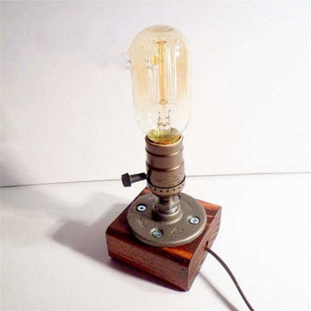 Настольная Лампа Старинные Настольные Лампы Древесины Эдисон Железная Клетка Лампы Оттенок Ретро Творческий Вечер Свет Bourgie Free Доставка