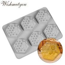 WISHMETYOU Bee Soap Mold Honeycomb Handmade Silicone Irregular graphics 6 Cavity Homemade Craft Decoration