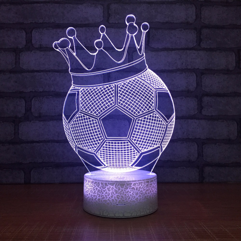 7 Color Changing Creat Football Crown 3d Night Light Led
