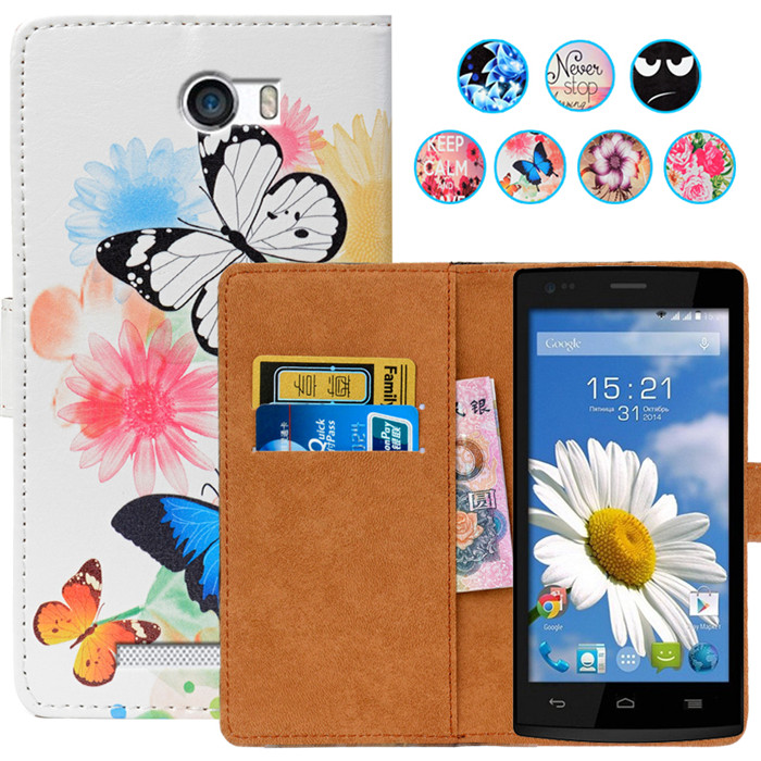 Floral Print Wallet Case For Fly IQ4505 ERA Life 7 Case 5.0 PU Leather Case Coque Back Cover Leather Holder protector Case