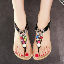 Women Sandals Shoes Woman Summer Ankle Flat Shoe Strap Bohemia Sweet Beaded Ladies Shoes Hot Sale Sandalias Mujer Black White