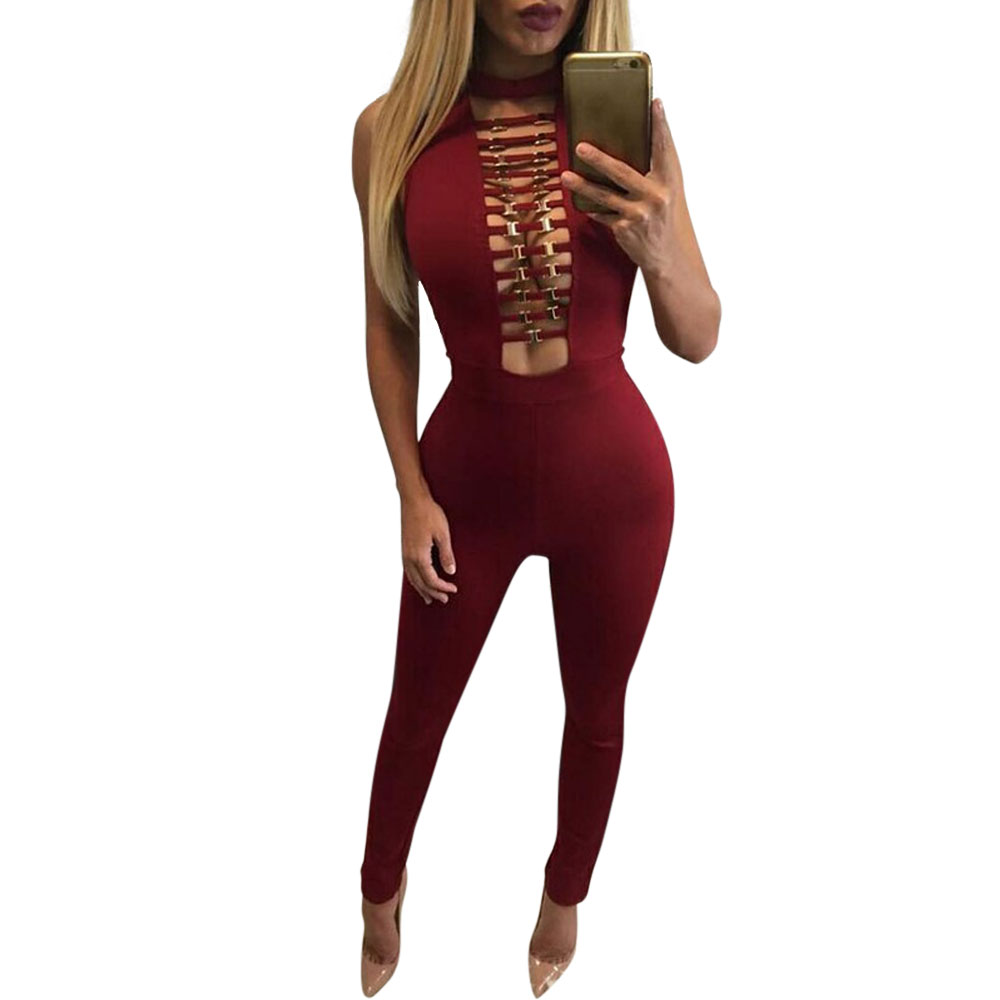 Free Shipping 2017 New Arrival Sexy Hollow Skinny Long Rompers Sleeveless Jumpsuit