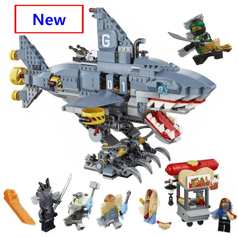 2019 New Ninja The Ninjago Movie Garmadon 6-Shark Building Blocks Sets Diy Bricks 70656 Compatible With Lego Best Gift
