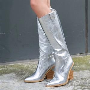 Image 3 - MORAZORA botas para mujer de tacón alto grueso hasta la rodilla punta estrecha, botas de invierno doradas, alta calidad, hasta la rodilla, 2020
