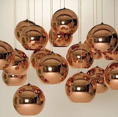 Modern Copper/Sliver/Gold glass ball lamp Shade Inside Mirror pendant Light E27 Bulb LED indoor Home Pendant Lamp