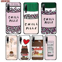 Black Silicon Phone Case funny Chills Pills Chocolate Nutella For Huawei P8 P9 P10 P20 P30 Pro Lite P Smart Plus Y6 Y7 Y9 2019 2