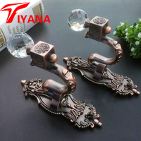High Quality Luxury Fashion Crystal Curtain Hooks Holder Hanger Bronze Display Rack Wall Hook Curtain Accessories