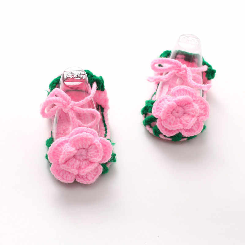 เด็กอ่อนรองเท้าเด็กทารกแรกเกิดโครเชต์ Casual เด็ก Handmade ถักกุหลาบถุงเท้าทารกรองเท้าแฟชั่น buciki dla niemowlat 1.523