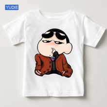 Spoof Crayon Shin-chan Clothing Japan Anime Childrens T Shirt Cartoon Girl Shirts White Top Boy Clothes Brand YUDIE