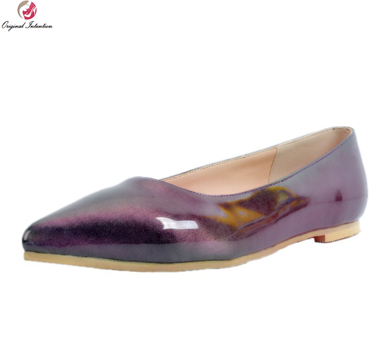 Original Intention New Elegant Women Flats Fashion Pointed Toe Flat Shoes Popular Gold Purple Shoes Woman Plus US Size 4-15 new listing pointed toe women flats high quality soft leather ladies fashion fashionable comfortable bowknot flat shoes woman