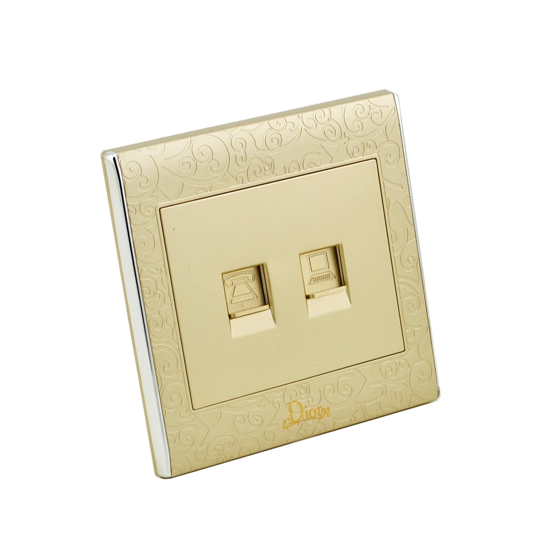 High Quality Golden Universal Electrical Tel and Computer Socket Wall Outlet ,wall Socket MK-WS05026 atlantic brand double tel socket luxury wall telephone outlet acrylic crystal mirror panel electrical jack