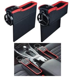 Боковой карман из искусственной кожи, органайзер для автомобильного сиденья, ящик для хранения зазора, держатель для бутылки, держатель для...