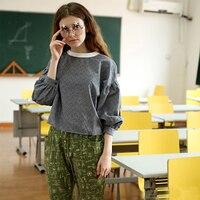 Original Design New Three Quarter Sleeve Women Gray Cotton Blouses Sweet Preppy Style Female Shirts Tops