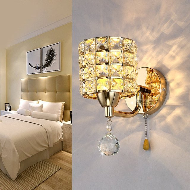 Modern luxury bedroom crystal wall light golden polished chrome modern luxury bedroom crystal wall light golden polished chrome bathroom wall sconces washroom wall lamp fixtures aloadofball Images
