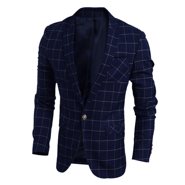 Свадебное Платье Пиджак Мужчины 2016 Новый Корейский Slim Fit Белье Мужские Плед Блейзер Высокое Качество Весна Повседневная Мужская Blazer Куртка