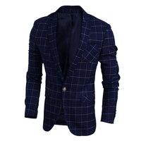 웨딩 드레스 재킷 남성 2016 새로운 한국어 슬림 린넨 남성 격자 무늬 재킷 고품질 봄 캐주얼 남성 재킷 재킷