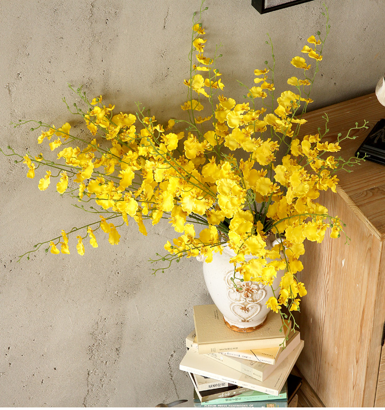Aliexpress Beautiful Yellow Color Decorative Display Fake Flowers Artificial Oncidium High Grade Silk For Home Holiday Party Decor From