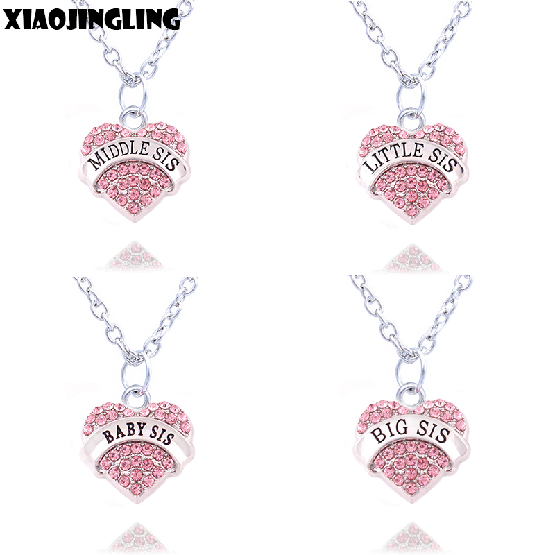 XIAOJINGLING Charm Pink Crystal Heart Necklace BIG SIS MIDDLE SIS LITTLE SIS BABY SIS Sister Birthday Gifts Women Girl Jewelry