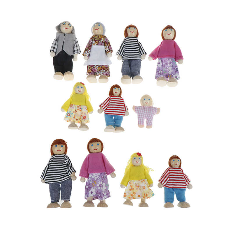 Wooden Family Dolls Small Wooden Toy Set Figures Dressed Characters Children Kids Playing Doll Gift Kids Pretend Toy
