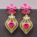 Princess Jewelry Gold Plated Natural  Red Zircon Crystal CZ Flower Earrings For Women Party Earring Bijoux Femme E03-2