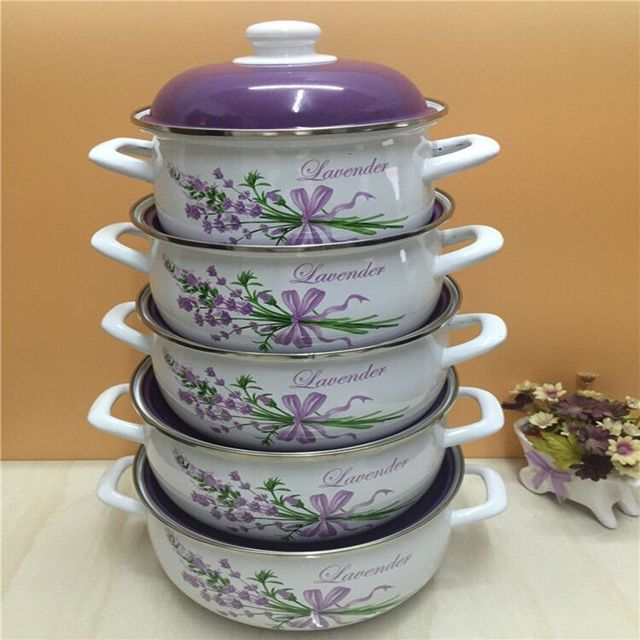 5 Pots a set of Enamel Soup Pot Stew Pot 18/20/ 22/24/26CM Soup Cooker Kitchen Pots  Cooking Pots set