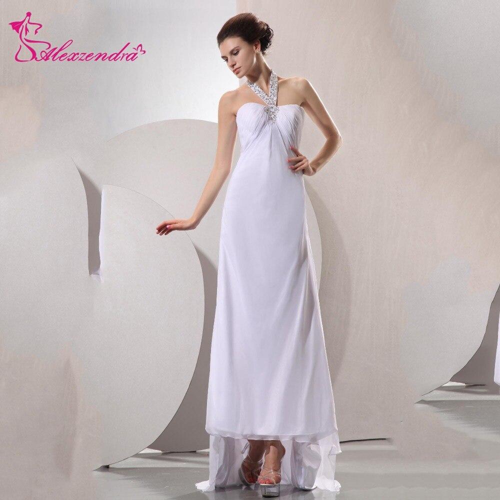 Alexzendra A Line Chiffon Pregnant Wedding Dress High Low Empire Waist Vestido De Noiva Wedding Bridal Gown Plus Size
