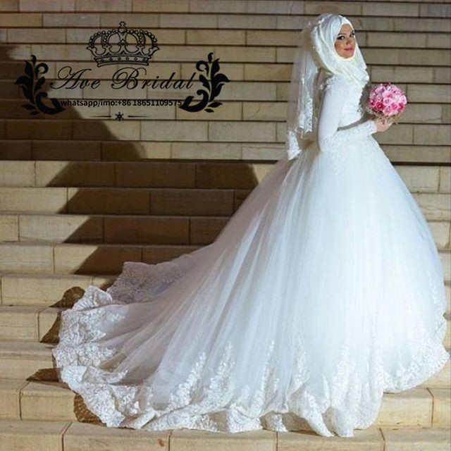 3e1300804f Arabic Muslim Wedding Dresses with Hijab 2017 Long Sleeve Turkey Ball Gown  Lace Applique White Ivory Princess Bridal Gown