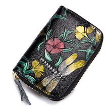 New Arrival Embossing Flower Style Card Holder 2018 Female Dragonfly Pattern Female Zipper Purses Hot Fashion Woman Card Wallets azsg 2018 new arrival tree heart shaped embossing plates design diy paper cutting dies scrapbooking plastic embossing folder