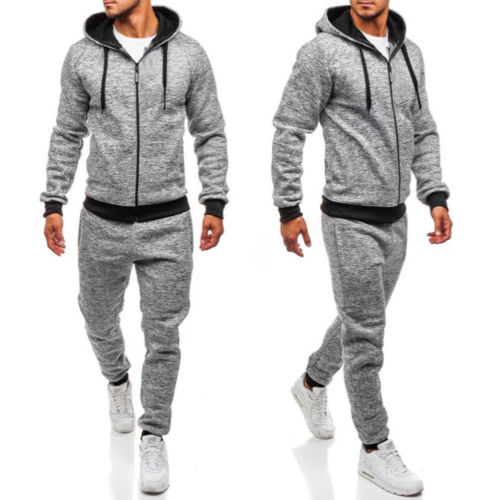 US Men Tracksuit Jogging Hoodies Coat Jacket Trousers Pants Gym Sweat Suit Set