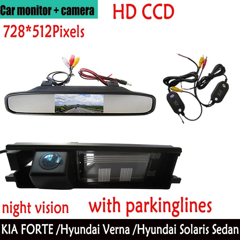 Caméra de vue arrière de voiture CCD couleur sans fil pour Toyota RAV4 RAV-4, avec moniteur de rétroviseur de 4.3 pouces