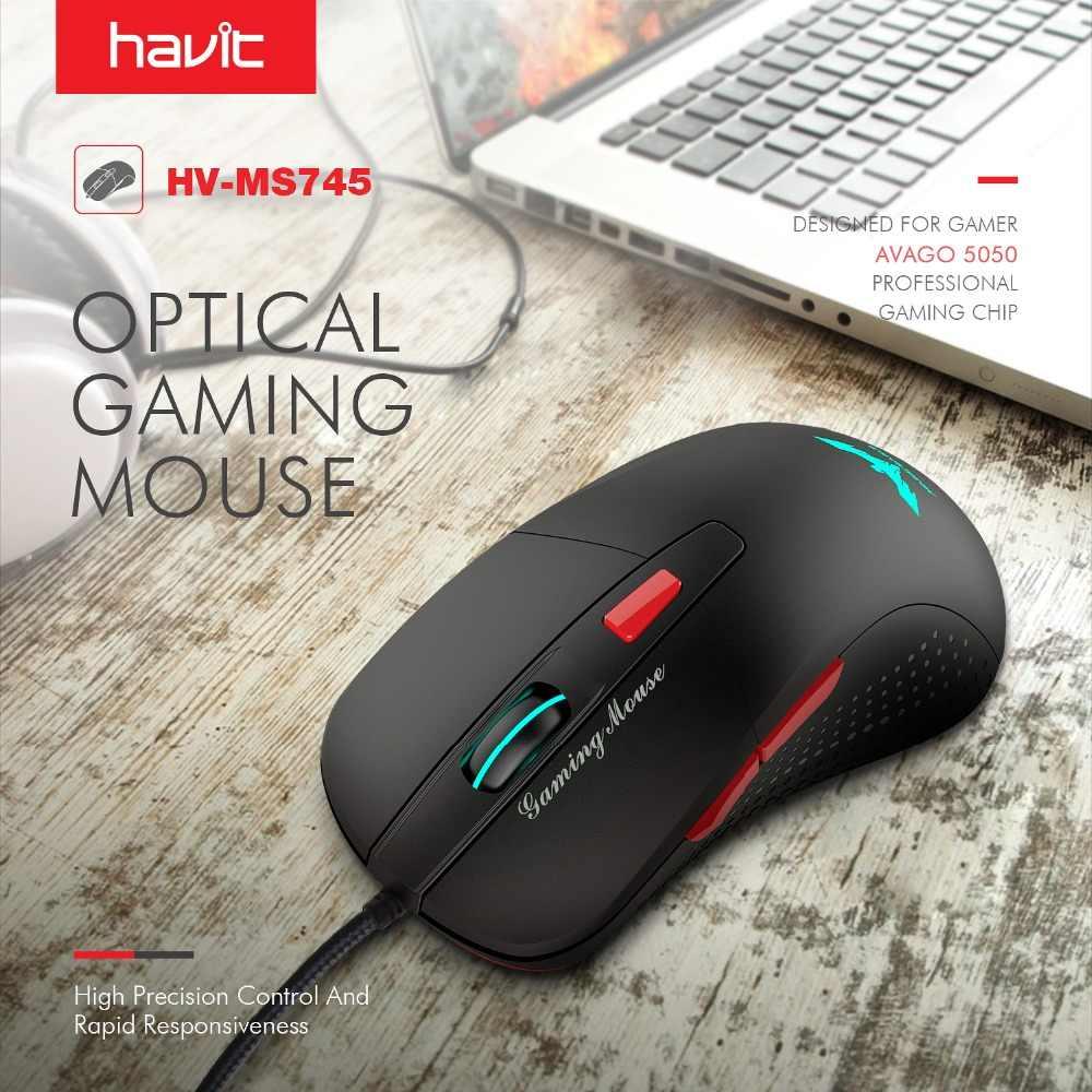 HAVIT Проводная игровая мышь USB Оптические светодиодные лампы Мышь Gamer 2800 DPI с 6-ю кнопками для ПК для ПК Настольная компьютерная игра HV-MS745