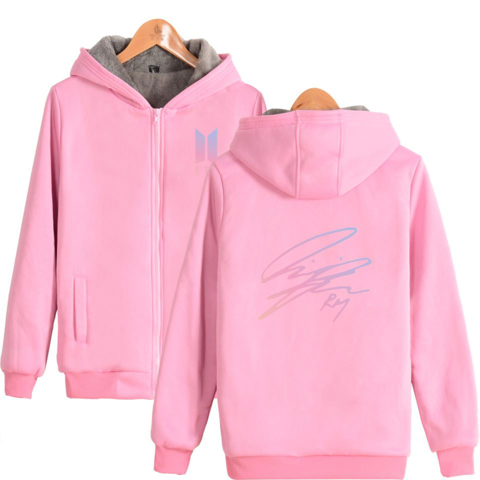 Suga Garçons Chauds pink Bts À K Épais Rm Jungkook Zipper Blue Jin J Navy pop Jimin Signature Capuche espérons Bangtan D'hiver Vêtements Membres Sweat V pink navy Blue tsQrhCxd