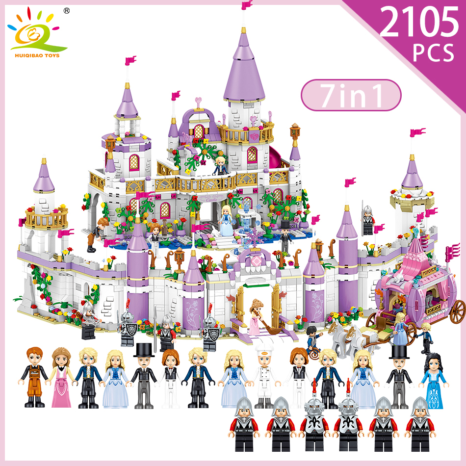 7 in 1 Princes Windsor Castle Model Building Blocks Compatible Legoed Friends Carriage Figures Educational Toys For Girl Child