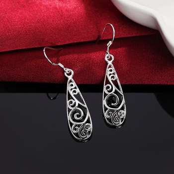 Christmas gift hot silver color Retro charms women Lady flower stud , earring jewelry best gift lowest price LE018 4