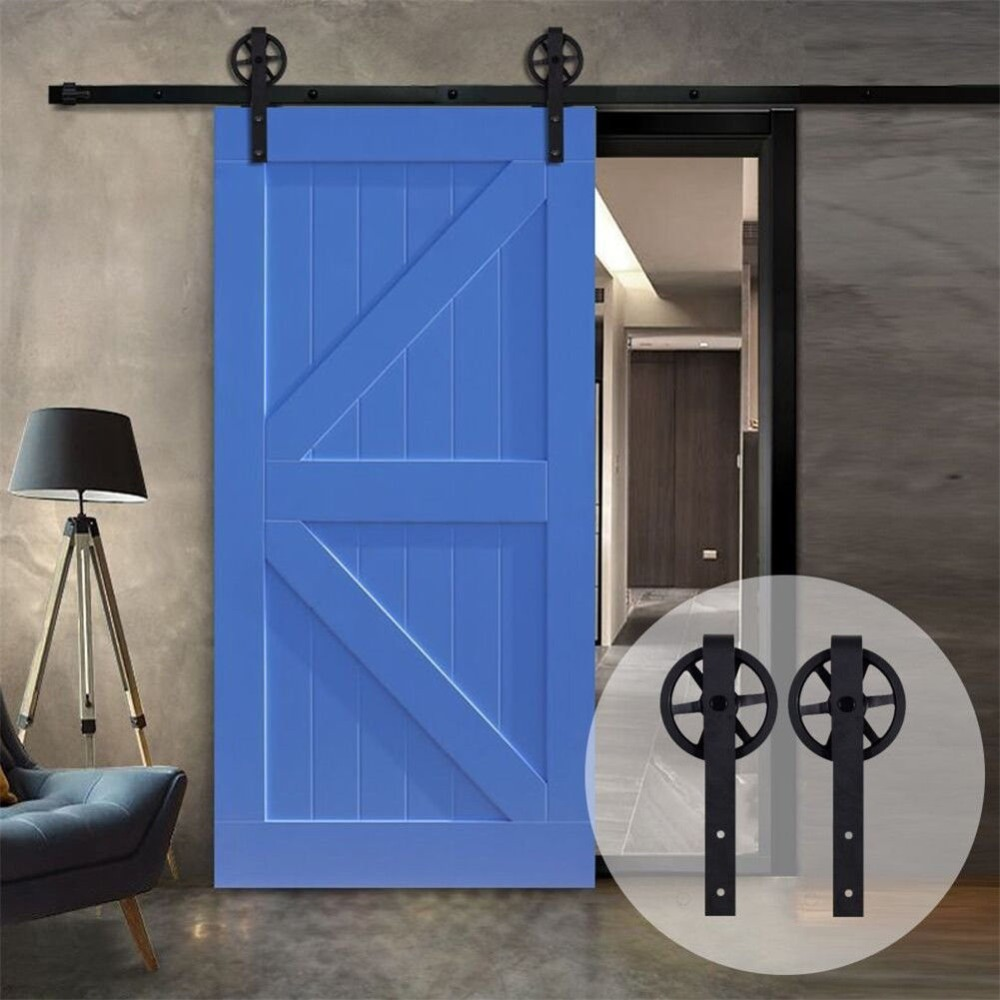 USA warehouse  Big Strap Spoke Wheel Wood Sliding Barn Door Hardware Closet Single Double Kit