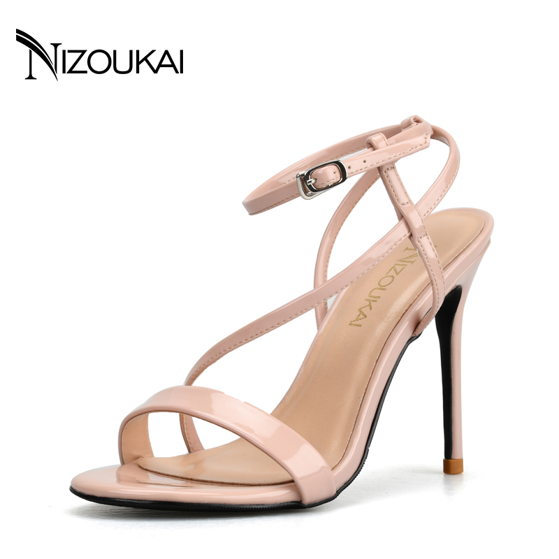 New Women sandals thin high heels open toe sexy party spring summer women shoes high heels sandals woman lyx7-q10 new arrival black brown leather summer ankle strappy women sandals t strap high thin heels sexy party platfrom shoes woman