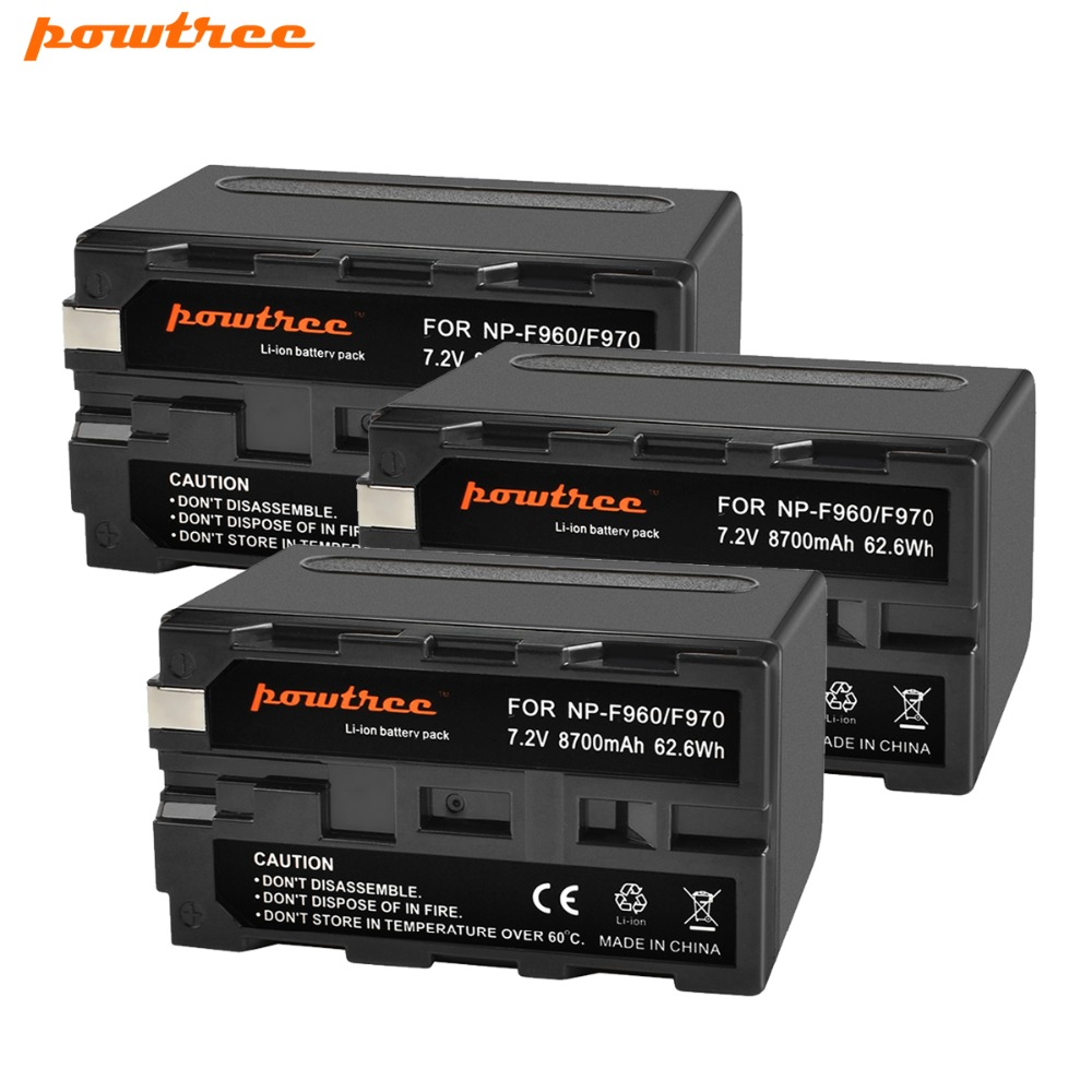 Powtree For Sony 3Pcs 7 2V 8700mAh NP F960 NP F970 Rechargeable Battery Replacement 198P F950 MC1000C TR516 TR555 DCR VX2100E A in Digital Batteries from Consumer Electronics