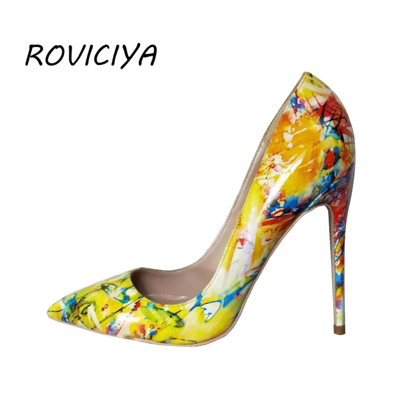22fae1ac8a Detail Feedback Questions about Women pumps printing yellow flowers shoes  sexy pointed toe thin high heel party wedding shoes 12 cm stilettos QP008  ROVICIYA ...