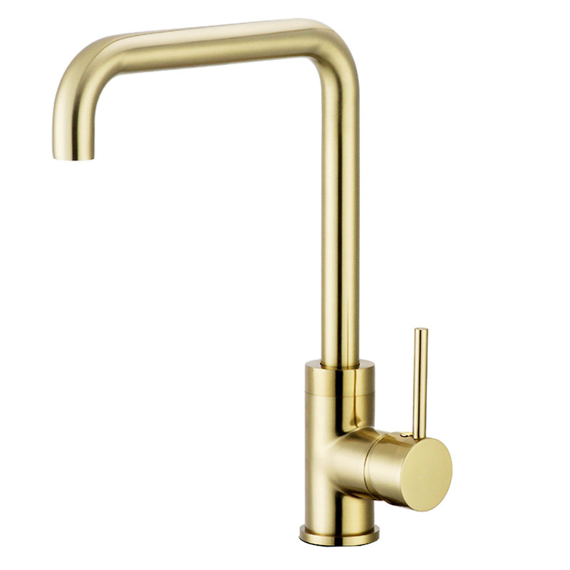 Brushed Gold Brass Kitchen Faucet Dual Sink Rotation Cold And Hot Water Mixer Tap Deck Mounted