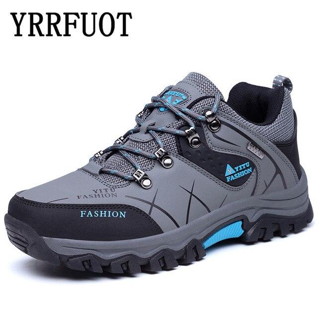 YRRFUOT Men Hiking Shoes Waterproof Outdoor Sport Shoe Brand 2019 Military Men Sneakers Lace Up Trekking Shoes Zapatillas Hombre