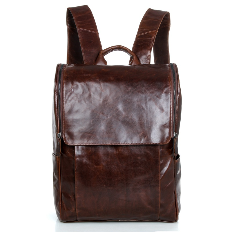 JMD New Arrival Genuine Cow Leather Mens Laptop Backpack Travel Bag 7344C jmd genuine cow leather mens laptop backpack for student school backpacks 7347c