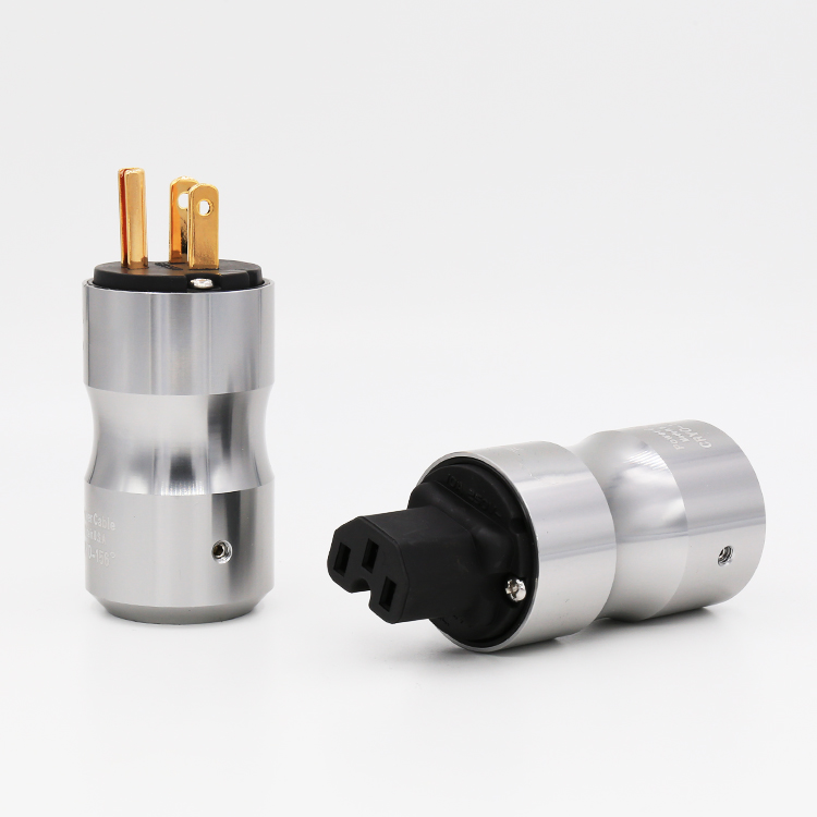 High Quality Gold Plated US Power Plug Connector US Mains Power AC  Cord Plug+IEC Female Connector Pair
