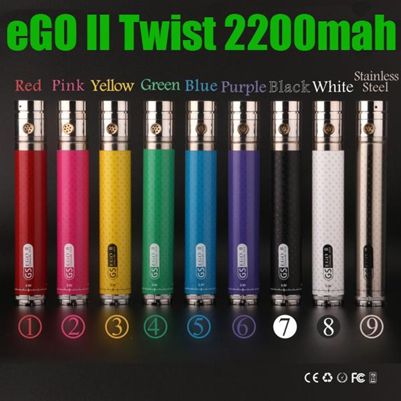 GS eGo II twist vv 2200 mAh 3.3V-4.8V Variable Voltage ego 2 <font><b>2200mah</b></font> huge capacity <font><b>battery</b></font> vs tesla 3200mAh <font><b>e</b></font> <font><b>cigarette</b></font> image