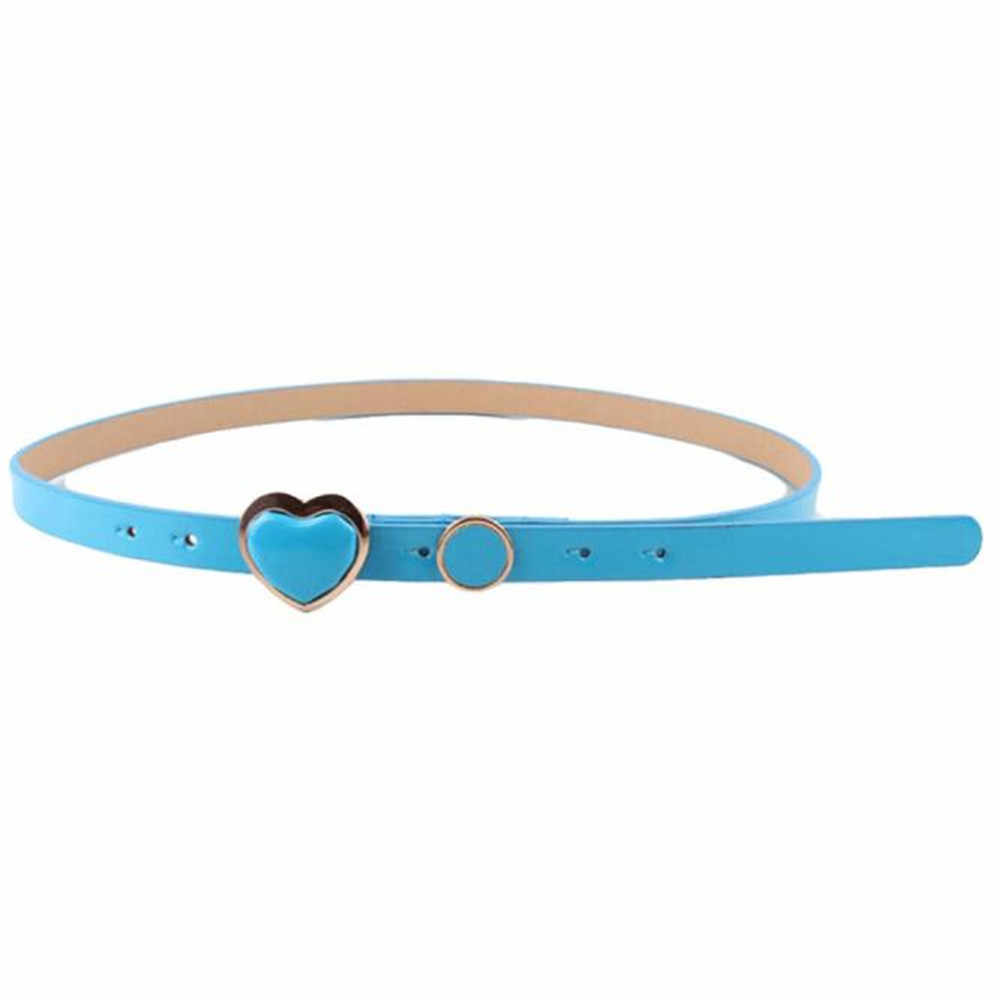 Cinturón elegante a la moda para mujer, cinturón con hebilla con estampado de corazón de color caramelo, cinturón para vestido de piel Simple y pequeño, accesorios 2019