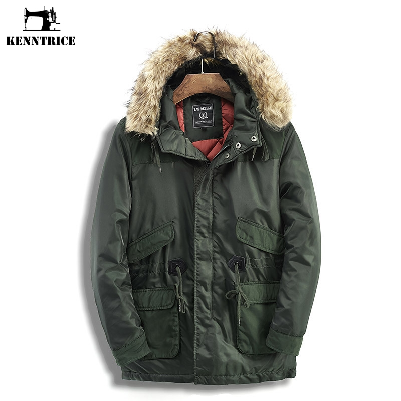 KENNTRICE Tactical Jackets Men Winter Coat Men Windbreaker Mens Winter Jackets Faux Fur Collar Removable Hooded Coat Trench Male