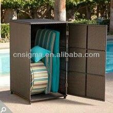 Всепогодная плетеная Вертикальная уличная мебель плетеная коробка для хранения шкафа