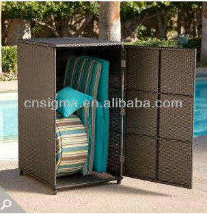 2014 all weather wicker vertical outdoor furniture wicker deck box storage cabinet