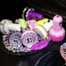 Newest diamond bling car charger for cell phone smart phone tablet Handmade Rhinestone double usb car